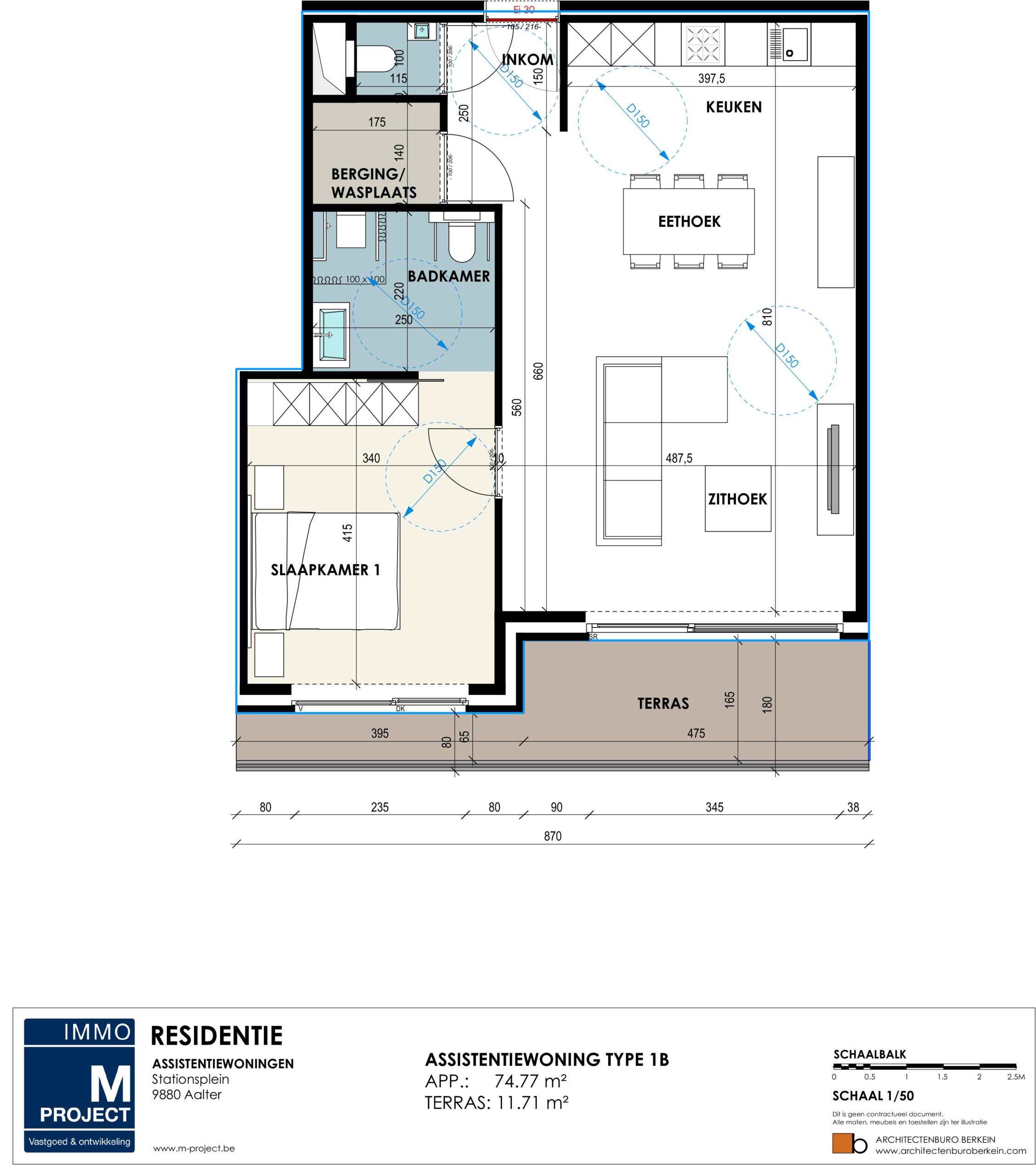 Koop uw serviceflat of huur deze : Residentie Academie - appartement type 1B