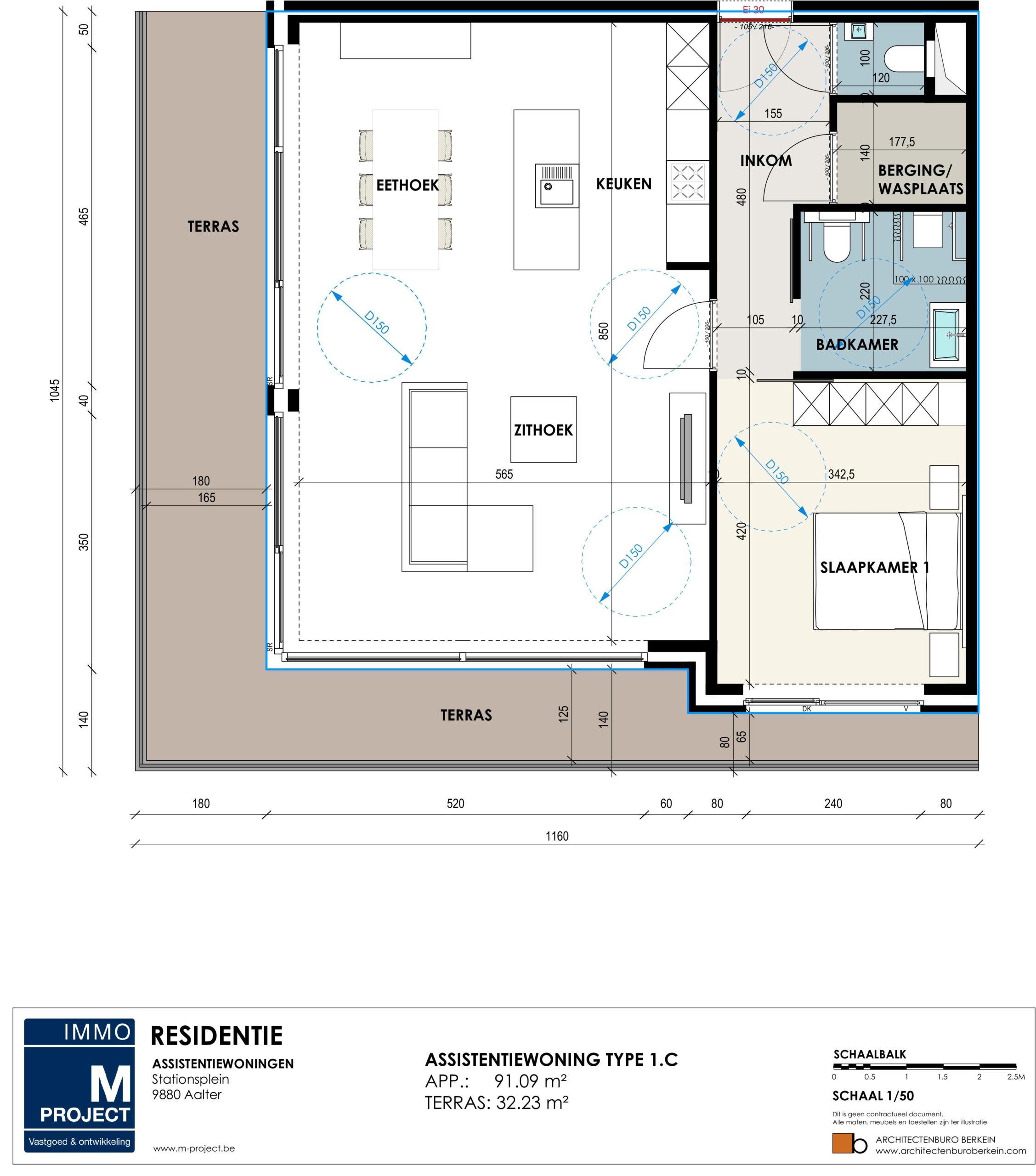 Moderne serviceflats voor senioren te Residentie Academie - appartement type 1C
