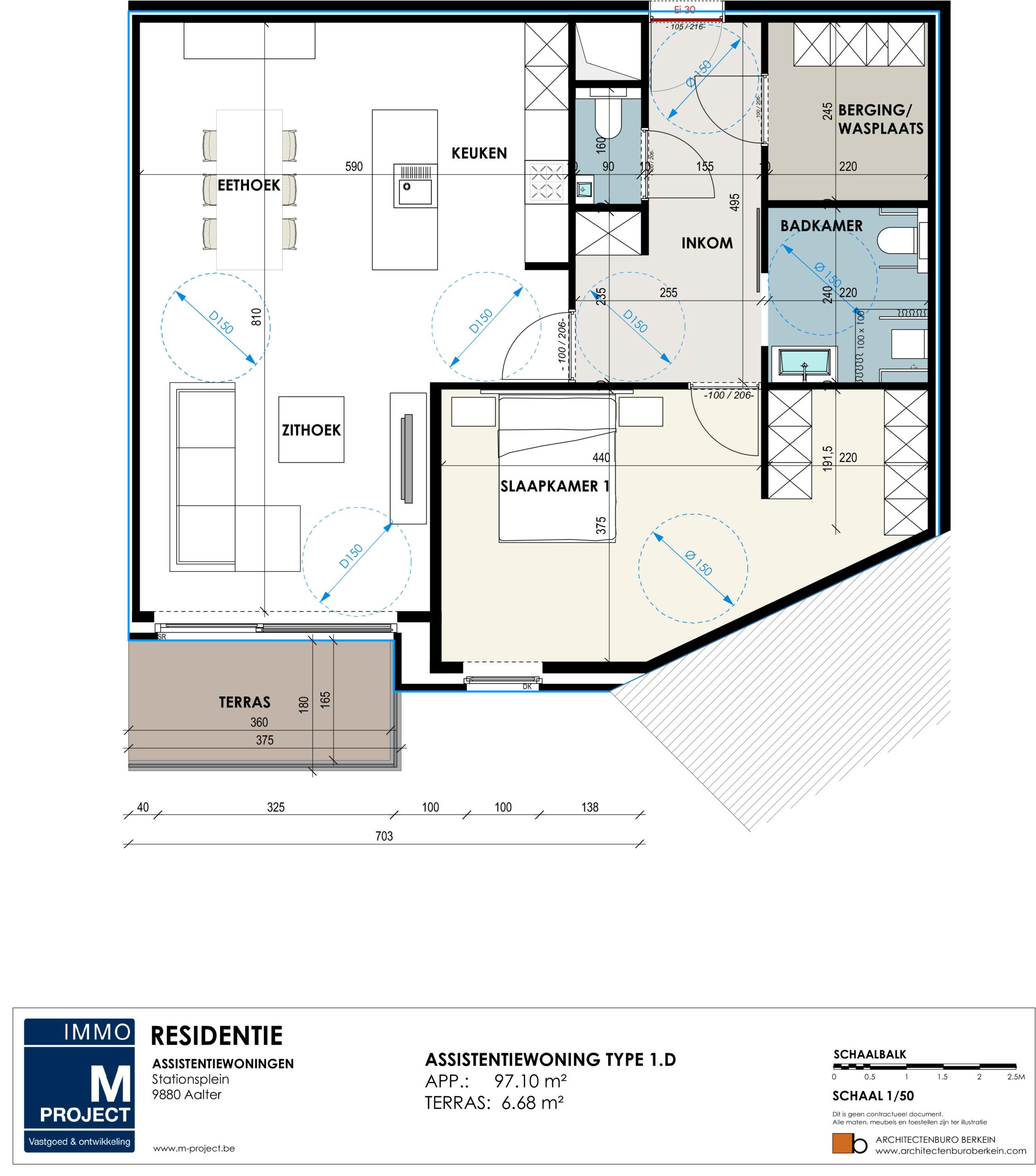 Kopen van een service appartement in Aalter. Residentie Academie - appartement type 1D