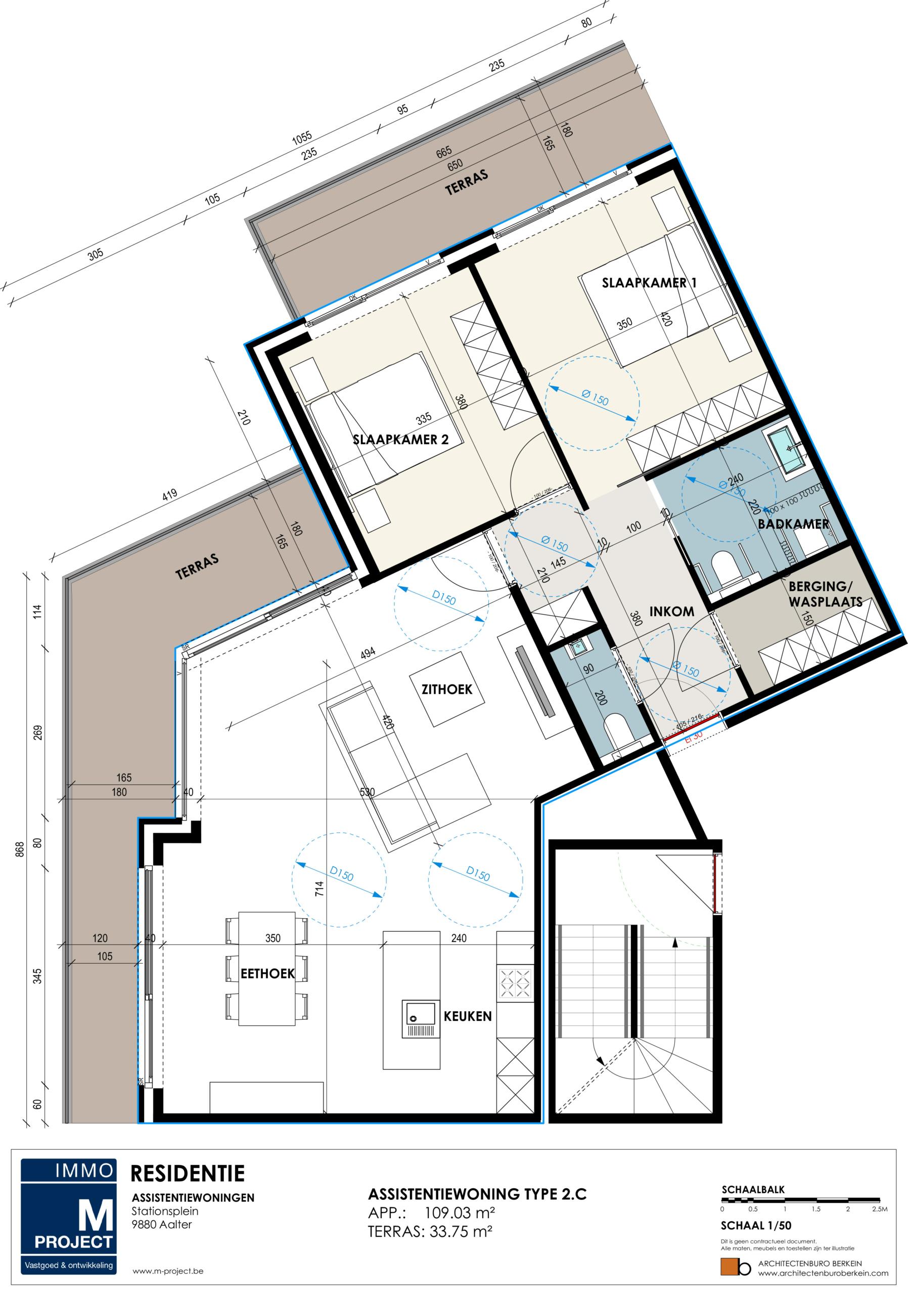 nieuwe assistentiewoningen te Aalter - Residentie Academie - appartement type 2C