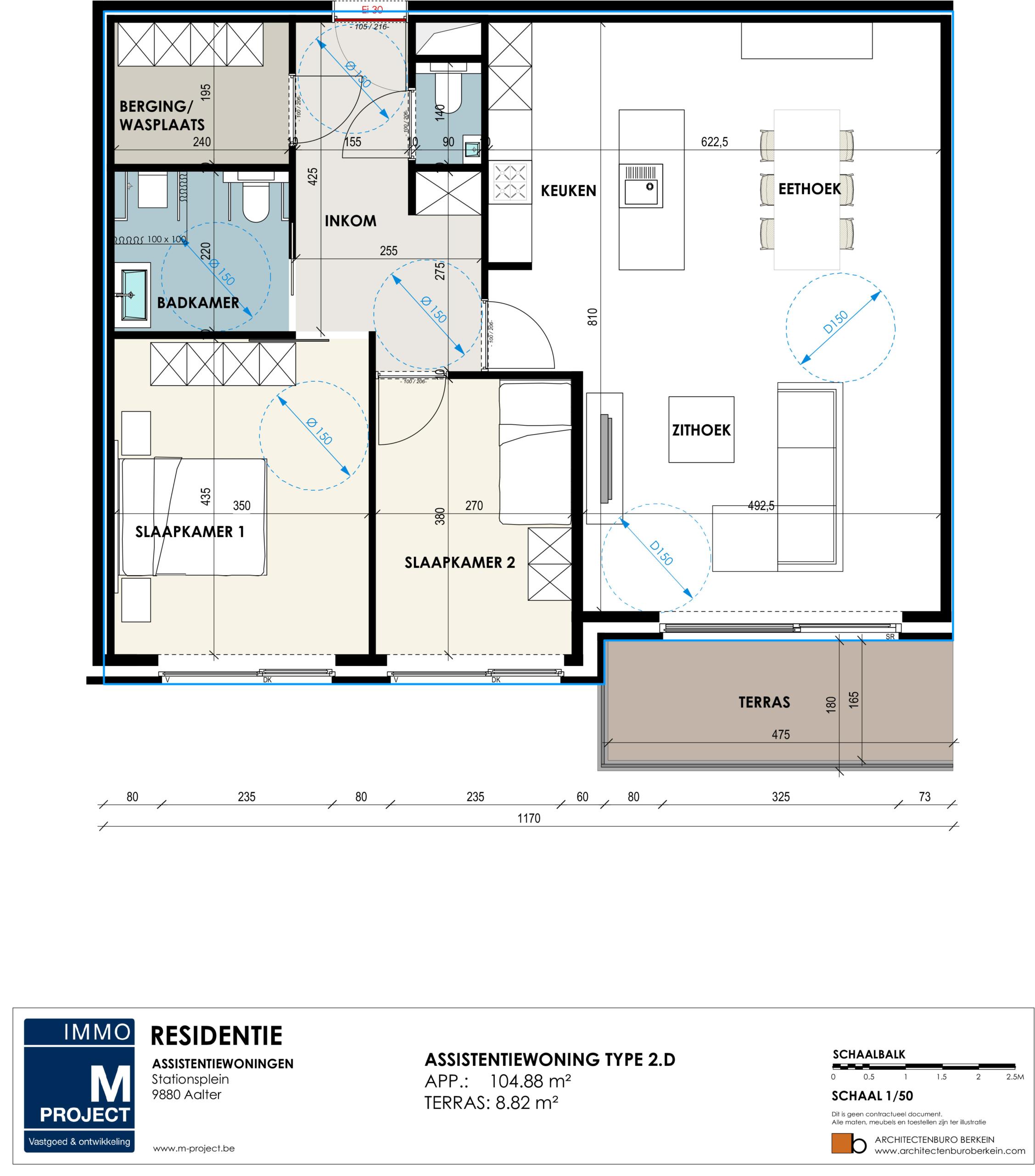 m-project aalter - Residentie Academie - appartement type 2D