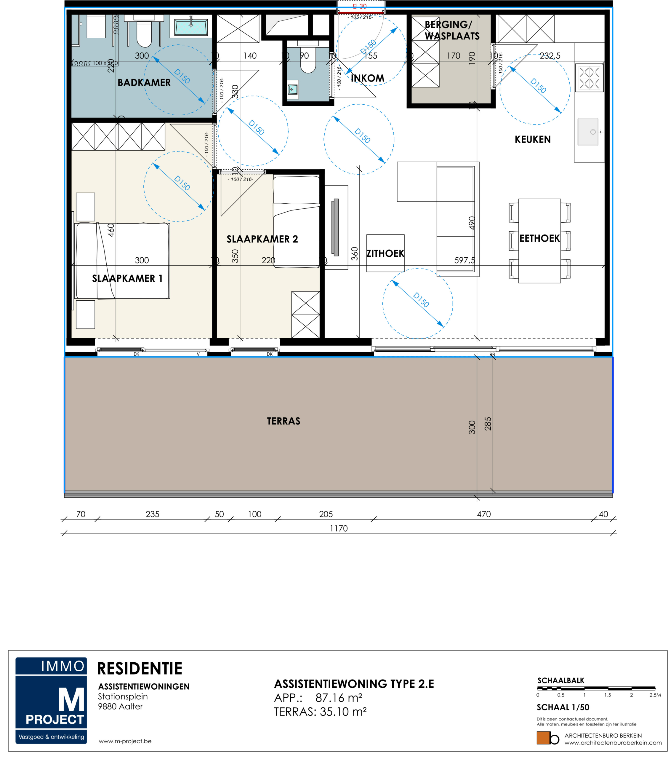 assistentie woning aalter - Residentie Academie - appartement type 2E