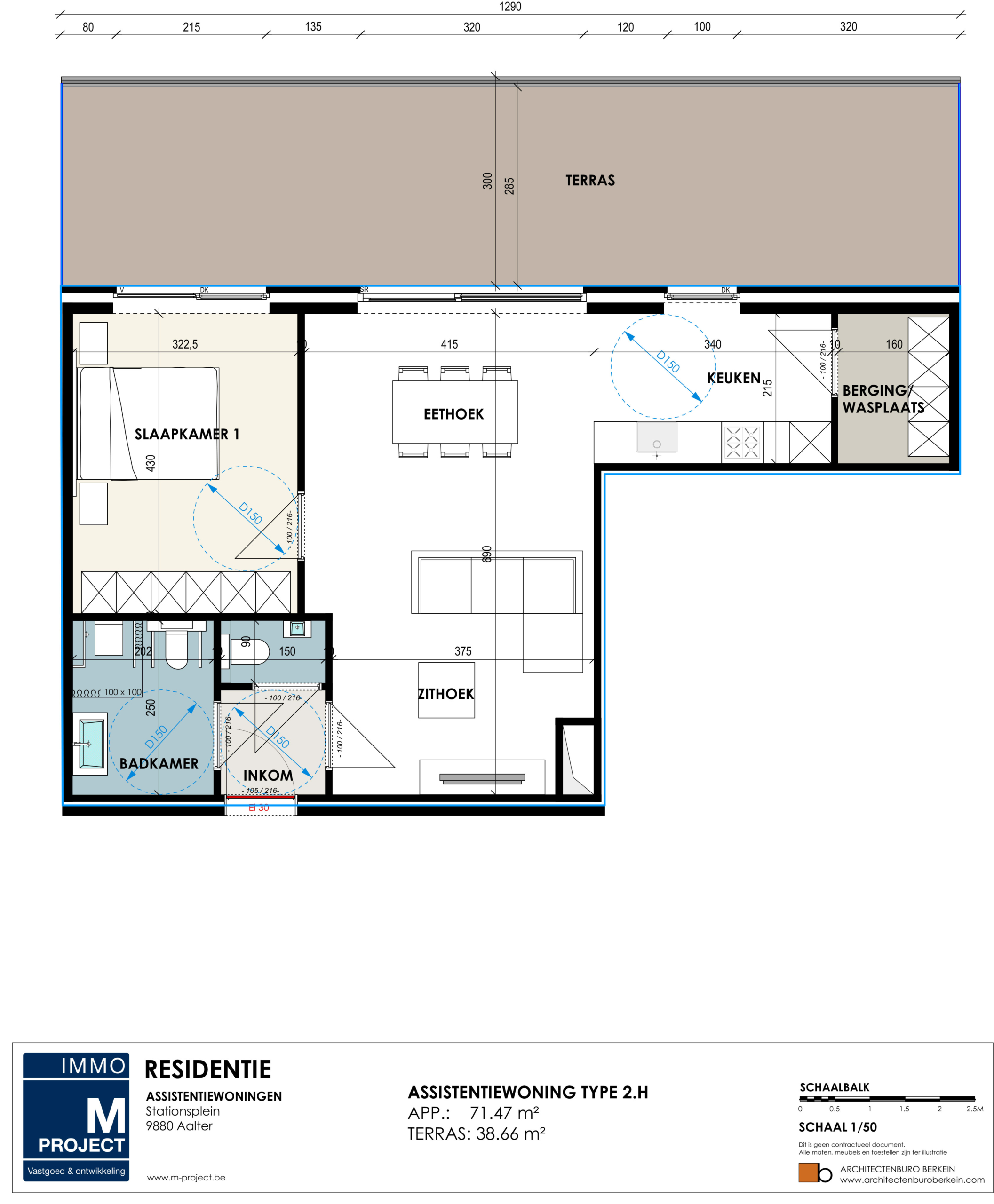 ruime flat met assistentie in Aalter - Residentie Academie - appartement type 2H