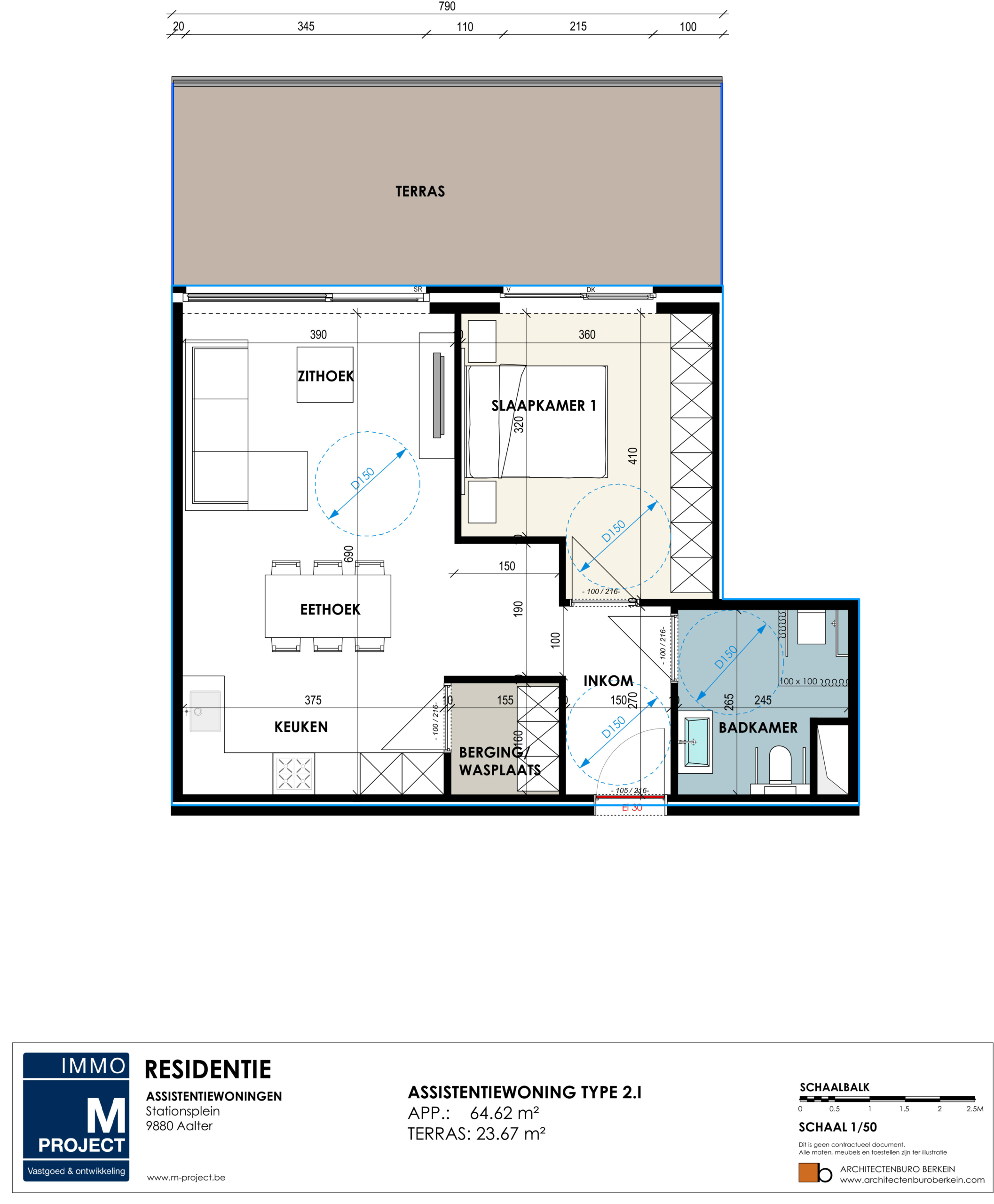 modern en lichtrijk appartement aalter - Residentie Academie - appartement type 2I