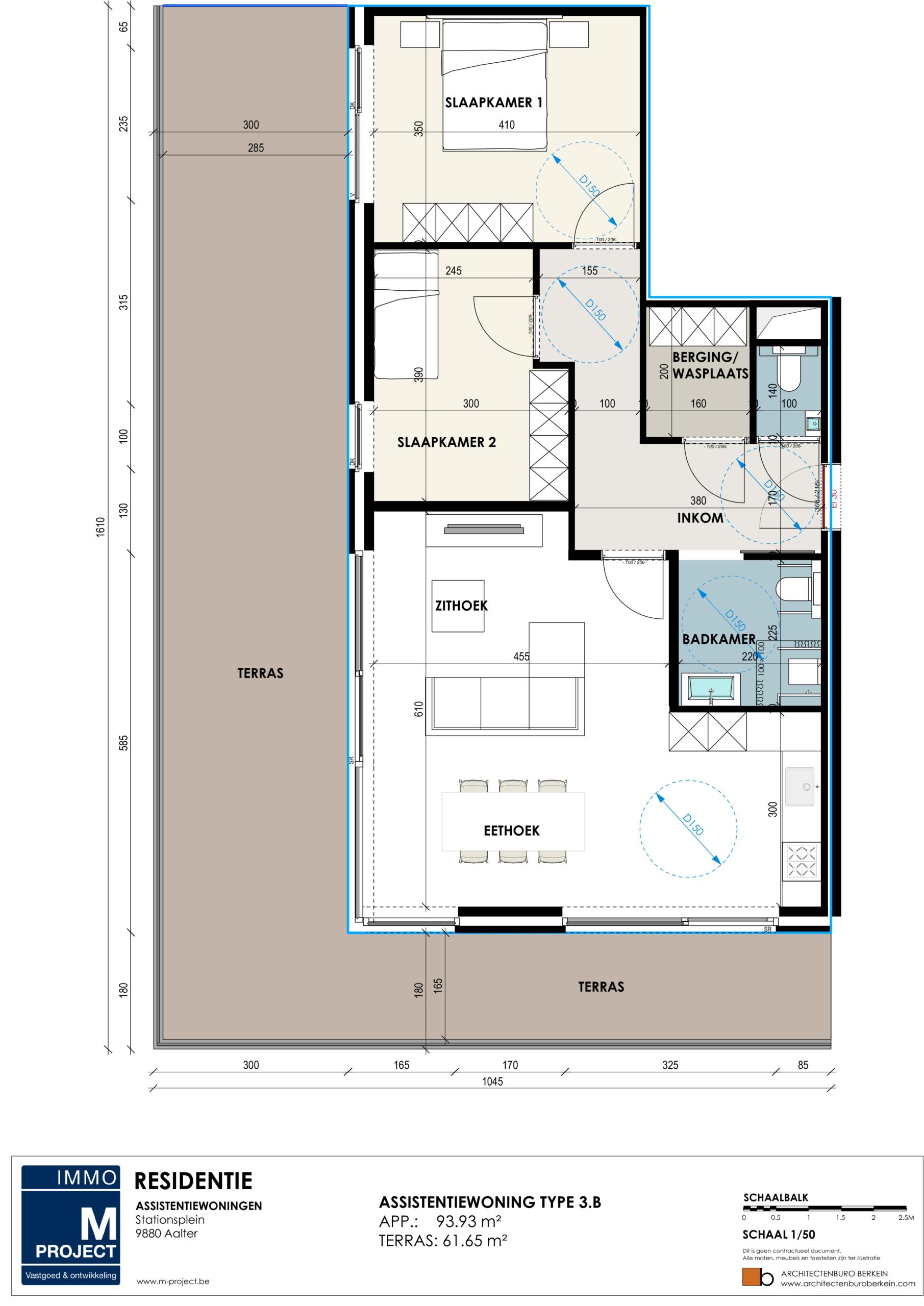 Serviceflats Residentie Academie - appartement type 3B