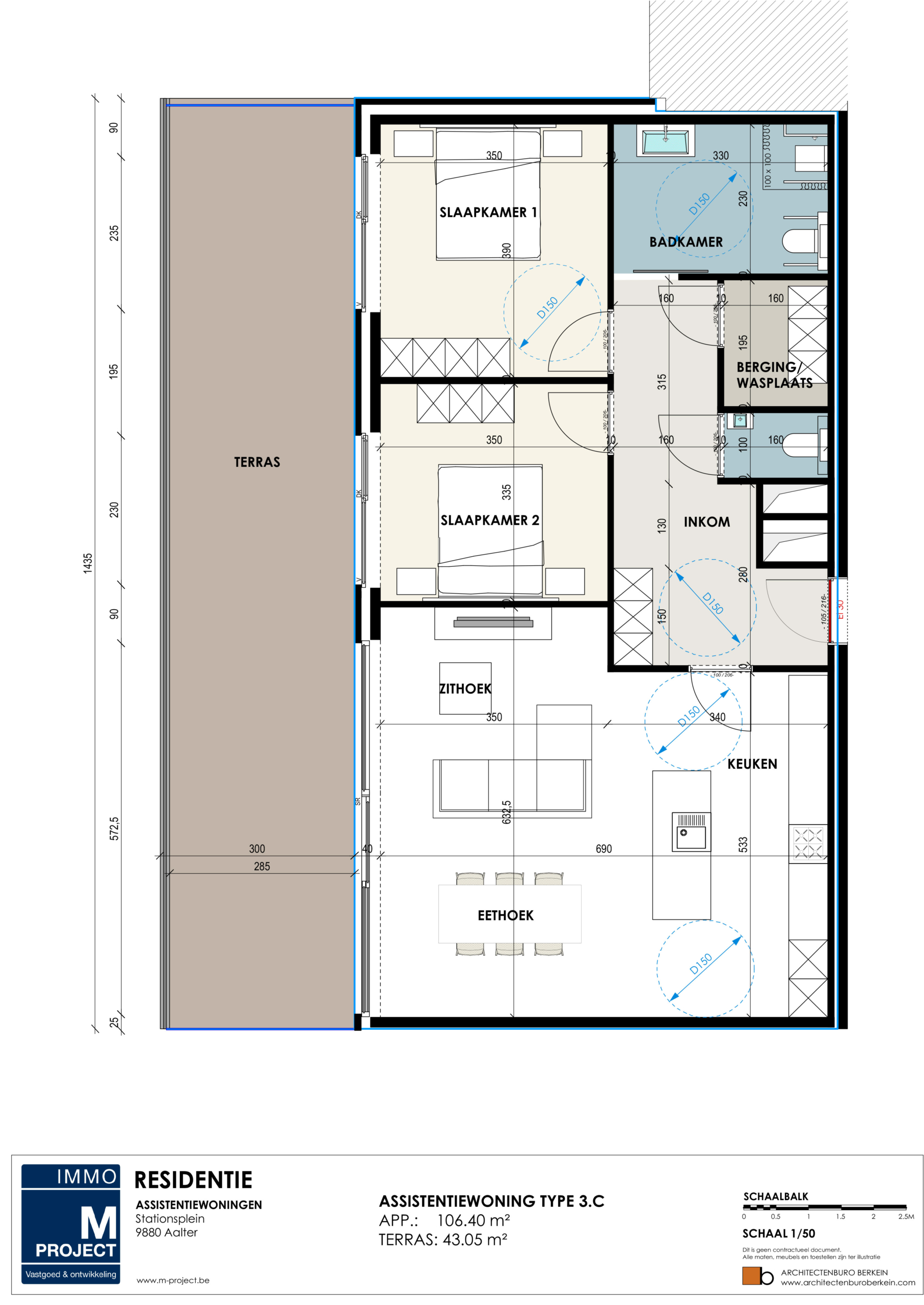 Assistentiewoningen Residentie Academie - appartement type 3C